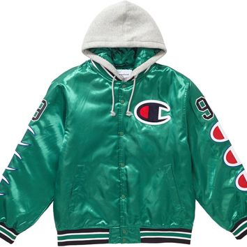 Supreme Champion Hooded Satin Varsity Jacket in Kelly Green
