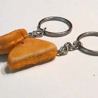 Grilled Cheese Sandwich Halves BFF Key Chains, Polymer Clay Food, Best Friends