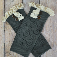Kids Dark Grey Leg Warmers with Lace Trim + Buttons