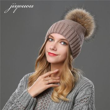 JIYOUOU 2017 hats for women Solid color Mink Fur Ball Cap PomPom winter beanie fur wool hat gorro feminino inverno touca inverno