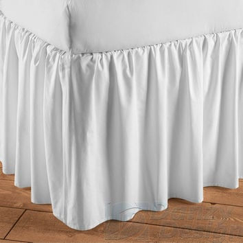 "White Dust Ruffle Bed Skirt with 7"" to 30"" Deep Length"