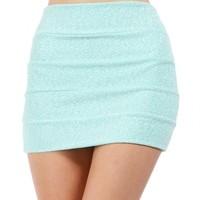 SALE-Mint Banded Glitter Mini Skirt