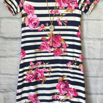 Striped Floral Midi Dress