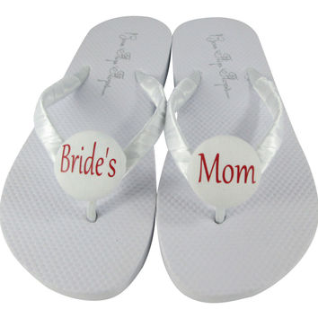 Red & White Bride's Mom Wedding Shoes, Flip Flop Sandals