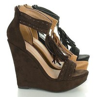 Madison115 Brown By Wild Diva, Tassel T Strap Platform High Wedge Heels