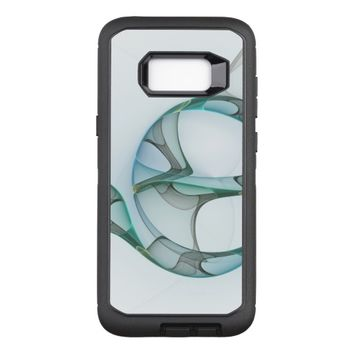 Fractal Art Blue Turquoise Gray Abstract Elegance OtterBox Defender Samsung Galaxy S8+ Case