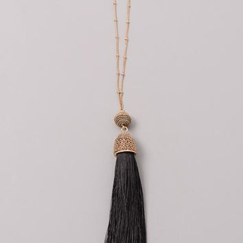 Chain Wrapped Tassel Necklace