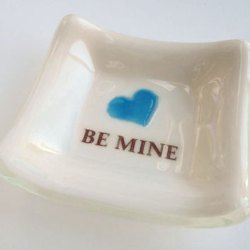 Small Gift Ideas - Be Mine - Ring Dish - Gift for Her - #heart #blue #gift #love #handmade
