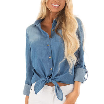 Denim Button Up Long Sleeve Top with Knot Detail