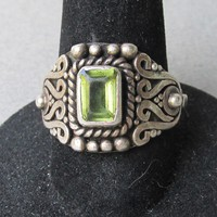 Vintage Sterling Silver PERIDOT Balinese Ring, Size 6.5