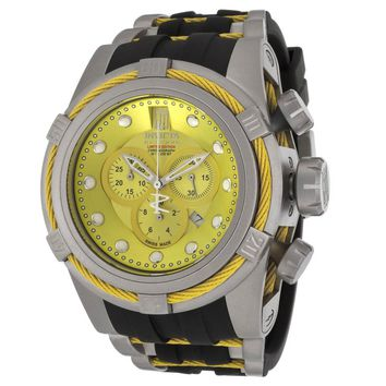 Invicta 14431 Mens Reserve Gold Dial Steel & Rubber Bracelet Chrono Dive Watch