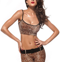 Brown Cheetah Leggings and Matching Top Design 170