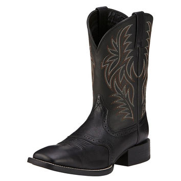 Ariat Mens Sport Wide Square Toe Black Leather Western Boots