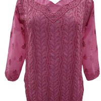 Womans Sexy Pink Kurti Cotton Chikan Embroidered Tunic Blouse M: Amazon.ca: Clothing & Accessories