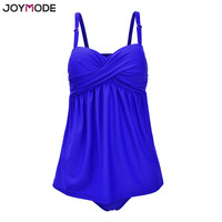 JOYMODE Two Pieces Swimsuit Straps Underwire Retro Ruched Modest Tankinis Vintage Women Swimwear Beach Dress