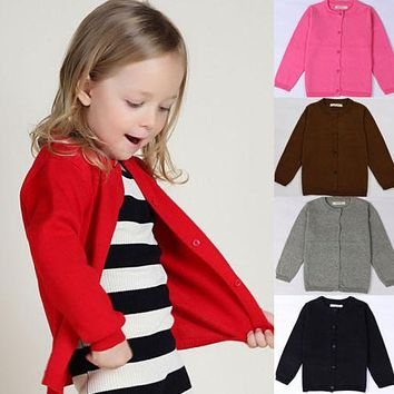 Candy Color Kid Toddler Girls Warm Outwear Coat Kids Woolen Knitting Children Clothing Baby Girl Boys Jacket Coats