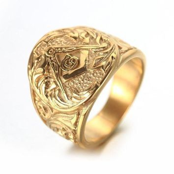 CREYCI7 Gold And Silver Mens Embossed Stamped Freemason Masonic Ring 316L Stainless Steel Ring New Men's Jewelry