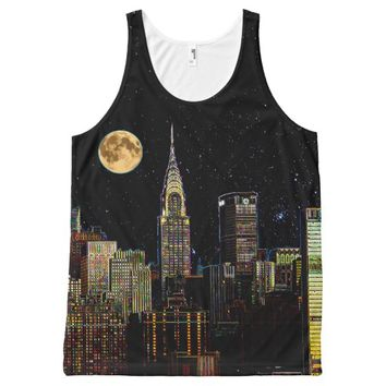 New York Skyline At Night With Full Moon All-Over Print Tank Top