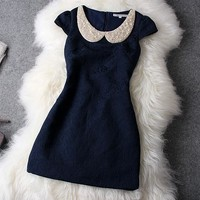 Pearl collar shining rhinestone dress