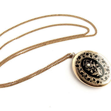 Antique Victorian Locket Necklace - Black Enamel Seed Pearl Jewelry Gold Filled with Solid Gold Back  / Flower Vine