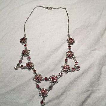 Nemesis Vintage Genuine Deep Garnet Draping Chocker Necklace.