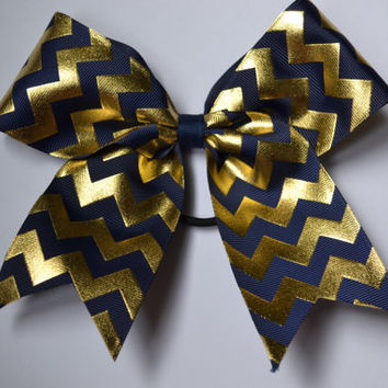 Adorable Navy and Gold Chevron Cheer Bow Notre Dame Fighting Irish
