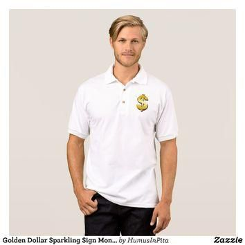 Golden Dollar Sparkling Sign Money Symbol Polo Shirt
