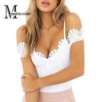 Crochet Lace Bodysuit White Black Summer 2017 Fashion Spaghetti Strap Body Suit Femme European Off Shoulder Sexy Bodysuits Women
