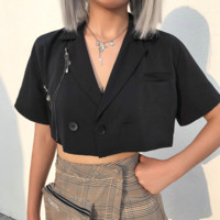 Fashion Summer Sexy Retro Accessories Short-sleeved Navel-exposed Suit