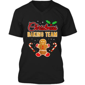 Christmas Baking Team Gingerbread Man  Mens Printed V-Neck T