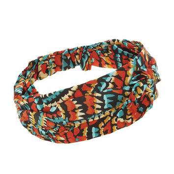 Two Layers Knotted Headband In Printed