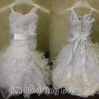 Real Samples Beatiful Flower Girl Dress with Ruffles Infant Gril Dress Miniatture Wedding Dress for Bride and Baby Girl Tutu Dress