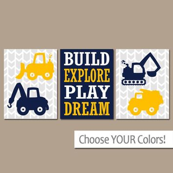 CONSTRUCTION Wall Art, Construction Decor, Transportation Theme, CANVAS or Print, Construction Truck Art, Big Boy Room Decor, Set of 3