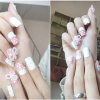 kawaii japanese gyaru fake nails art.wedding,birthday.pink and white.