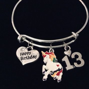 Colorful Unicorn Happy 13th Birthday Expandable Charm Bracelet 13 Birthday Silver Adjustable Wire Bangle One Size Fits All Gift Birthday Jewelry