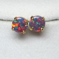 Mulitcolored Opal Earrings Set in 14Kt Gold Filled Stud Post 6mm