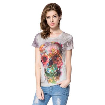 Stylish Round Neck Short Sleeve Floral Print Skull Pattern Women's T-Shirt