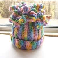 Pastel Child's Hat with Curly Q's