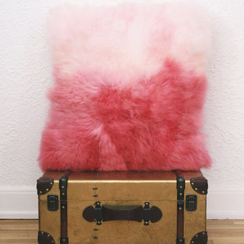 FUR PILLOW GENUINE Sheepskin  .   Hand Dyed Ombre Style . Stylish and Fun Look . Beautiful and Cozy Home Decorating Addition . Custom Colors