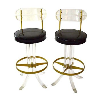 Pre-owned Mid-Century Lucite and Brass Bar Stools