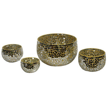 Fantastic 4 piece Mosaic Votive Candle Holder By Benzara