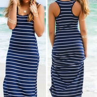 Look My Way Navy Stripe Jersey Racerback Maxi Dress