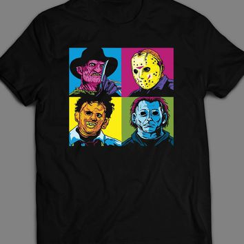HORROR MOVIE VILLAINS, LEATHER FACE, MIKE MYERS,FREDDY, AND JASON POP ART T-SHIRT