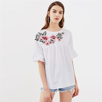 Crew Neck Floral Print Baby Doll Blouse