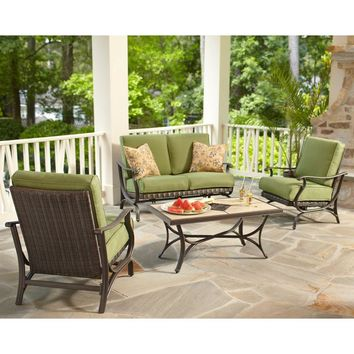 Classic 4-Piece All-Weather Wicker Patio Conversation Set with green Cushions