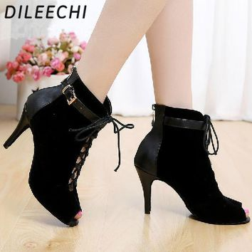 DILEECHI Brand women's Black Purple velvet Genuine leather Latin dance boots high heels Party Spot zipper on back shoes