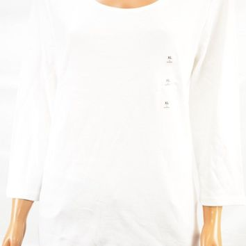 Karen Scott Women's 3/4-Sleeve Scoop-Neck 100% Cotton White Blouse Top XL
