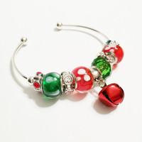 Red and Green Jingle Bell Bracelet - Christmas Jewelry - Open Bangle Bracelet - Santa Workshop - Christmas Gift - Christmas Bell Bracelet
