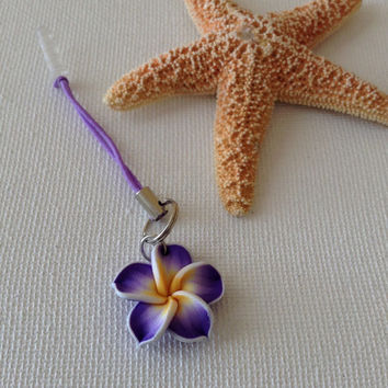 Purple flower dust plug, cell phone dust plug, cell phone flower charm, polymer clay flower charm, gifts for cell phones