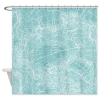 Polar Chill Teal Shower Curtain -  Vintage map - Home Decor - Bathroom - maps, teal, ice, cool, unique